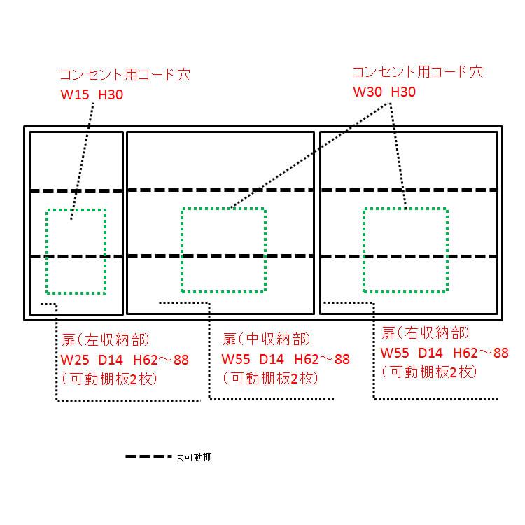配線すっきりカウンター下収納庫 5枚扉 《幅150cm・奥行20cm・高さ77~103cm/高さ1cm単位オーダー》 内寸図(単位cm)