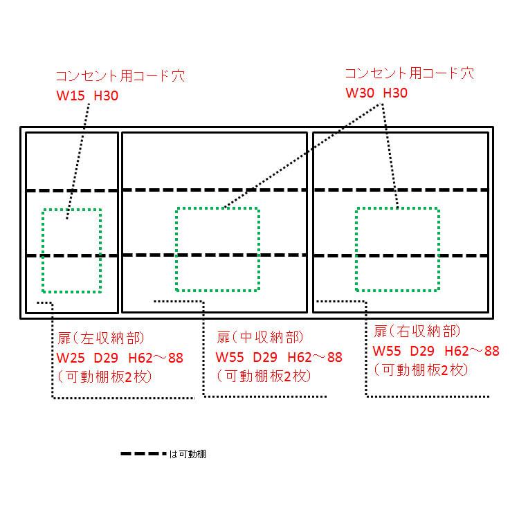 配線すっきりカウンター下収納庫 5枚扉 《幅150cm・奥行35cm・高さ77~103cm/高さ1cm単位オーダー》 内寸図(単位cm)