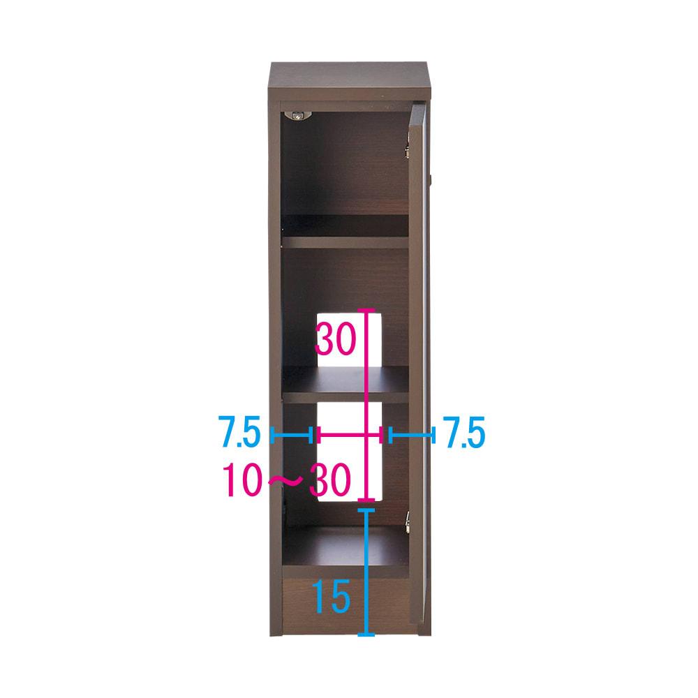 配線すっきりカウンター下収納庫 1枚扉 《幅25~45cm・奥行20cm・高さ77~103cm/幅・高さ1cm単位オーダー》 (エ)ダークオーク コンセントを生かす工夫 コンセントの高さ部分に背板がないので、壁にぴったり付けてもコンセントが使えます。 ※赤文字は内寸 青字は外寸(単位:cm)