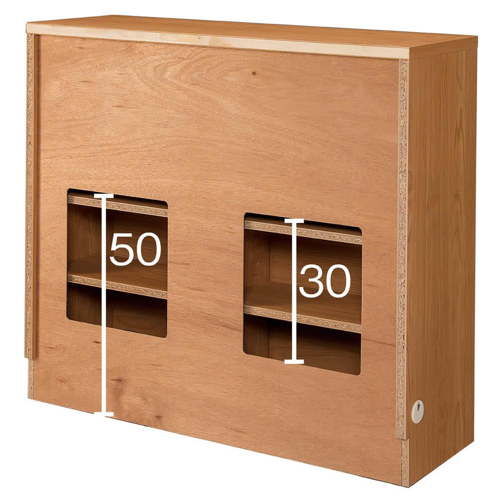 アルダーカウンター下収納庫(奥行23cm) 幅120高さ70cm (裏面) 背板の一部をオープンにした仕様なので、コンセントの前方に設置してもコンセントを生かすことが可能です。 ※写真は幅90高さ85cmタイプです。