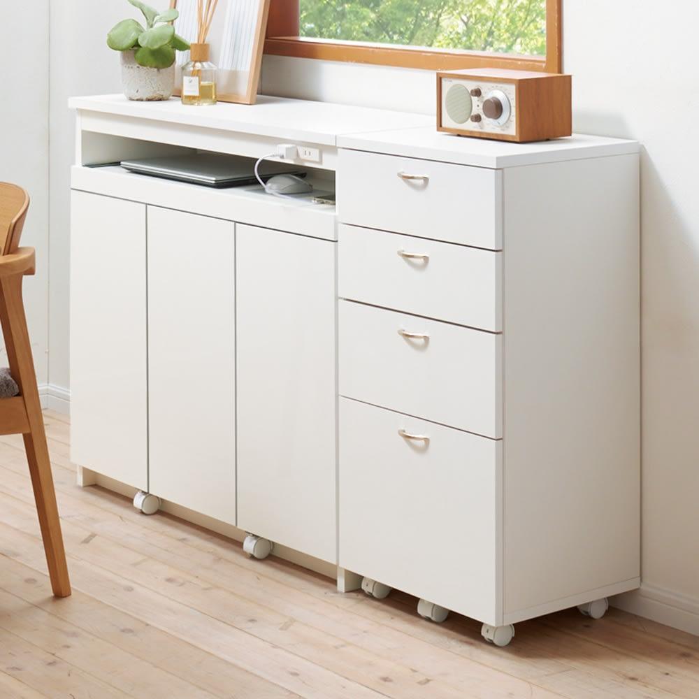 スライドテーブル付きカウンター下収納庫シリーズ チェスト幅41.7cm コーディネート例(ア)ホワイト(光沢) 奥行35cmのスリム設計で、狭い場所にも。