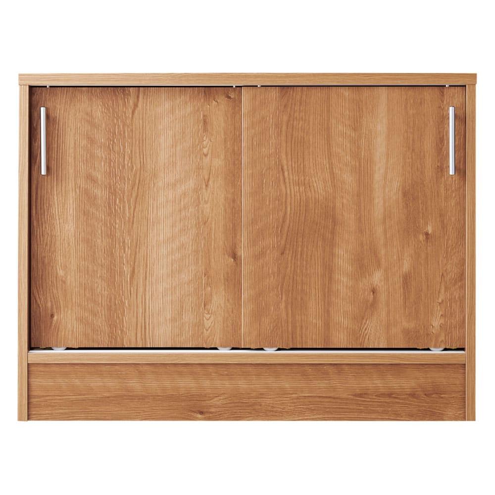 高さ60cm!カウンターダイニング下に納まる収納庫 引き戸 幅119奥行35cm (エ)ブラウン ※写真は引き戸・幅79cmです。