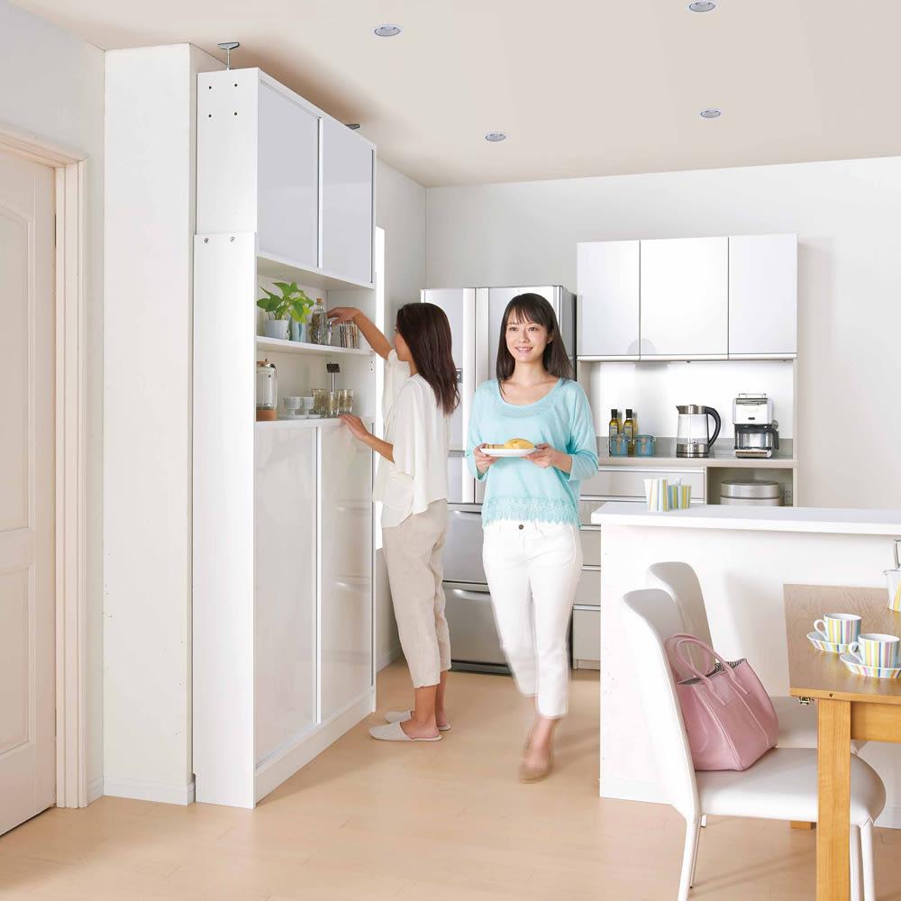 狭いキッチンでも置ける!薄型引き戸パントリー収納庫 奥行21cmタイプ 幅60cm 収納庫を使っていてもすれ違うことが出来るので、マンションやシステムキッチンのお家にもおすすめです。