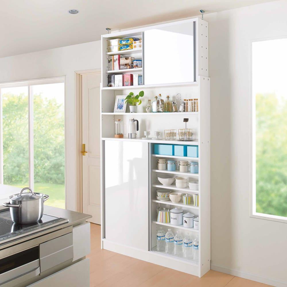 狭いキッチンでも置ける!薄型引き戸パントリー収納庫 奥行21cmタイプ 幅90cm わずかなスペースでたっぷりの収納力を叶えます。