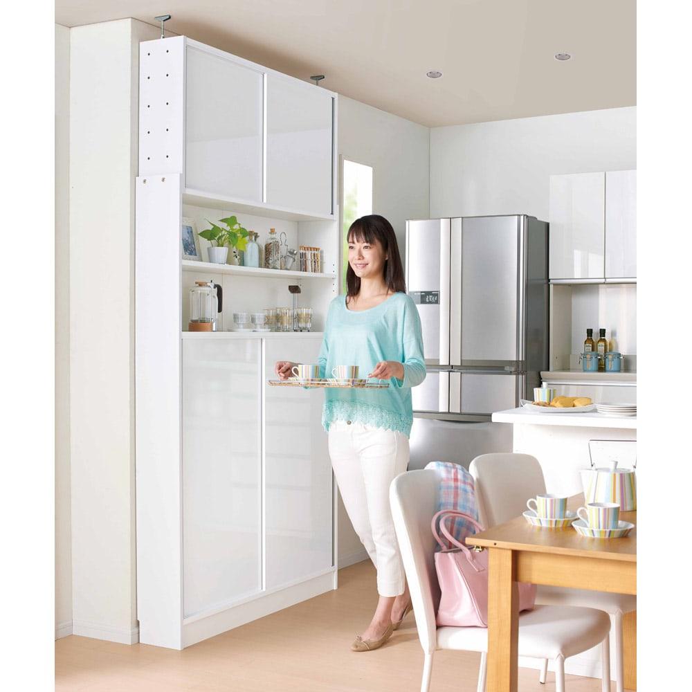 狭いキッチンでも置ける!薄型引き戸パントリー収納庫 奥行21cmタイプ 幅120cm 狭いキッチンカウンター横のスペースでもご使用頂けます。