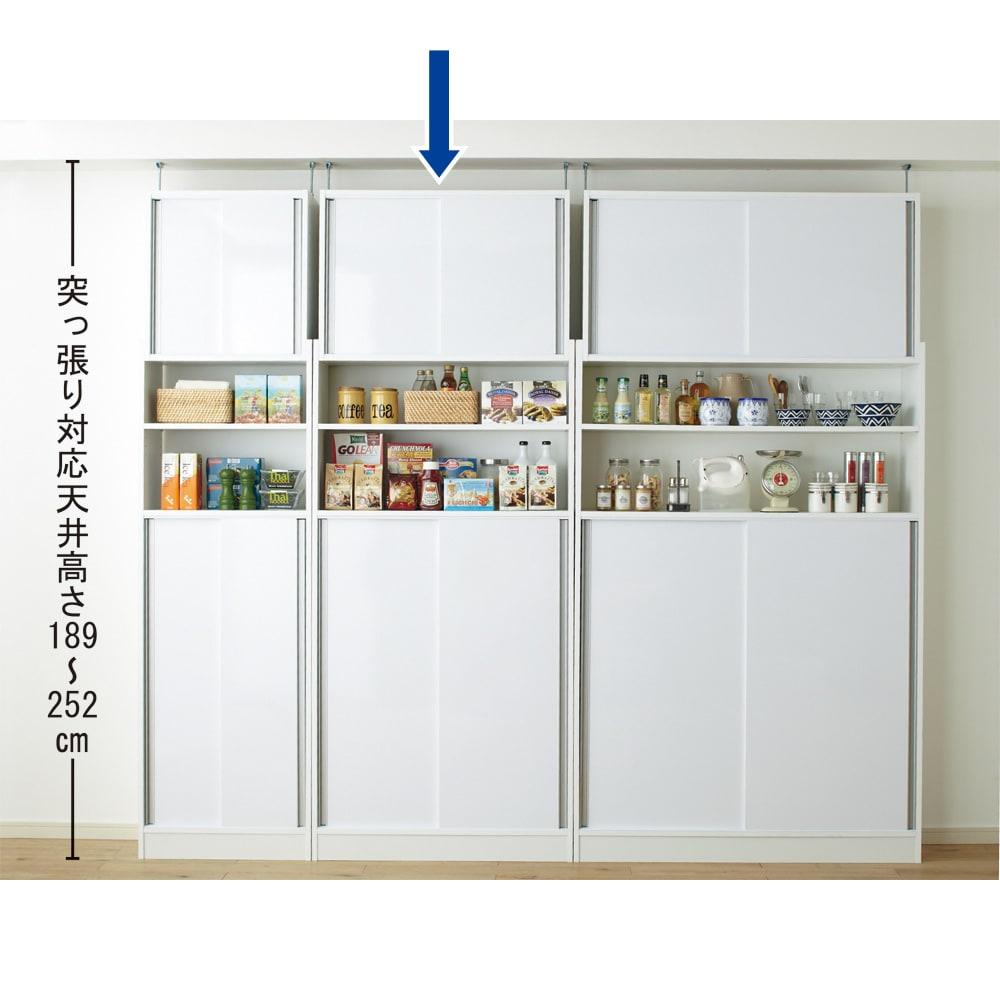 狭いキッチンでも置ける!薄型引き戸パントリー収納庫 奥行30cmタイプ 幅90cm 狭小スペースにもおすすめのキッチンラックです。※突っ張り対応天井高さ189~252cm