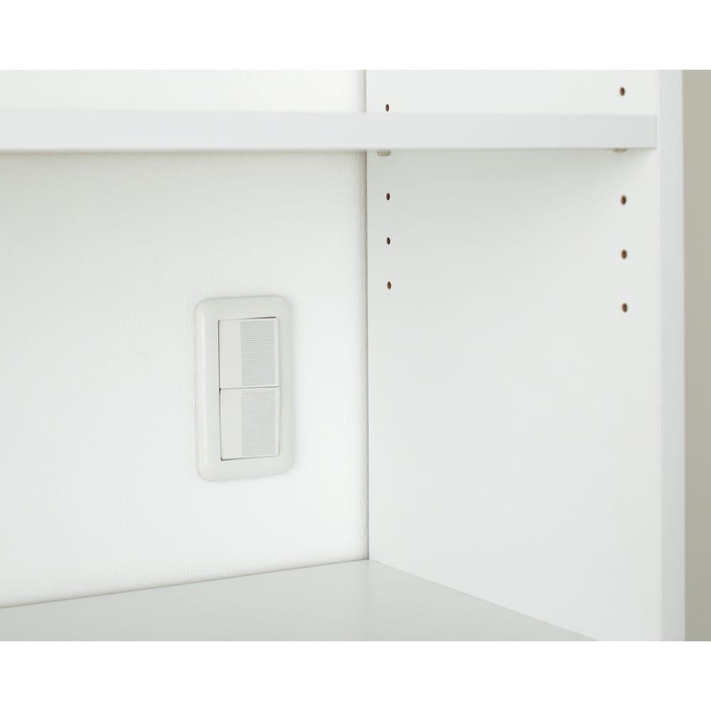 狭いキッチンでも置ける!薄型引き戸パントリー収納庫 奥行30cmタイプ 幅90cm オープン部は背板がなく壁面のスイッチがよけられます。