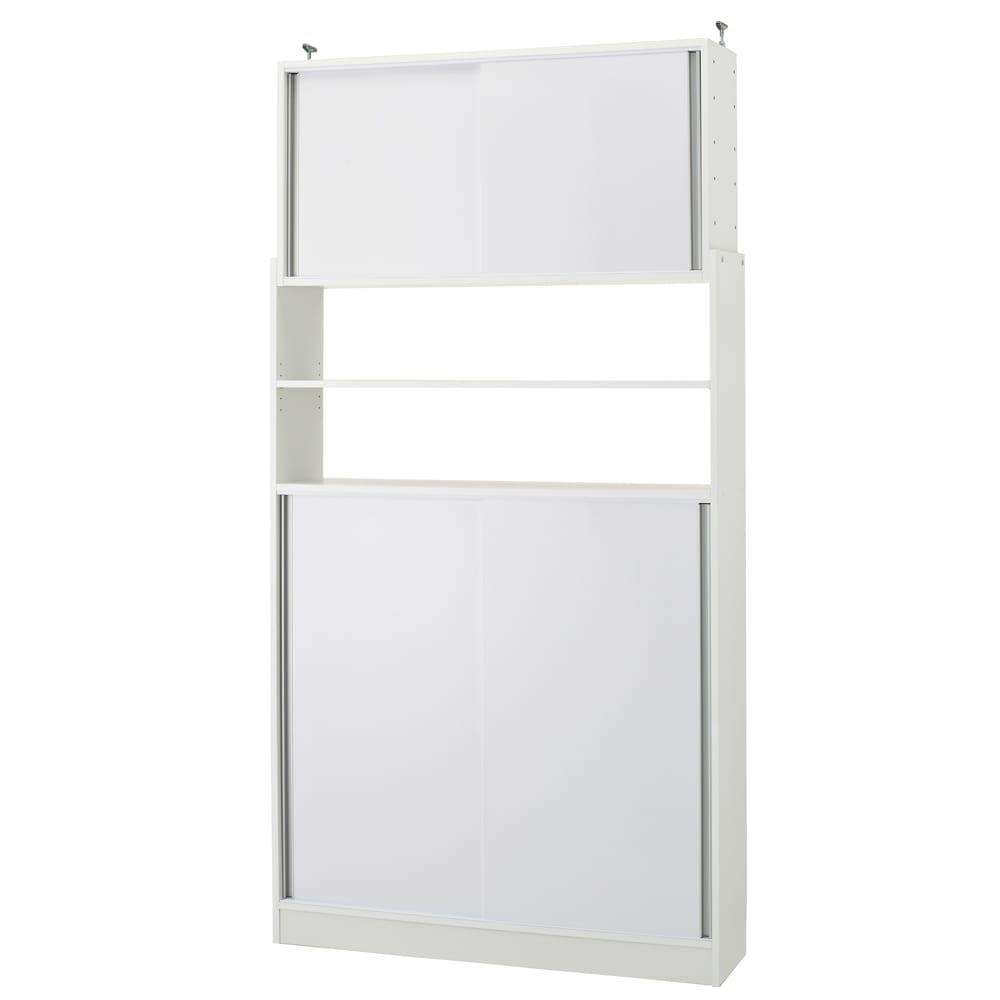 狭いキッチンでも置ける!薄型引き戸パントリー収納庫 奥行30cmタイプ 幅120cm (ア)ホワイト