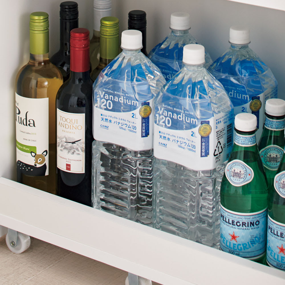 組立不要!52サイズ・3色の156タイプから選べる頑丈すき間ワゴン 幅30奥行55cm 2Lペットボトルやワインもおまかせ。(※写真は幅30cm×奥行55cm)