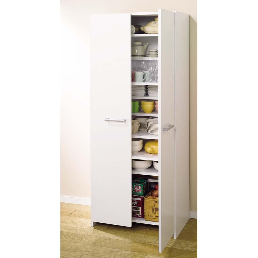 組立て不要 1cmピッチ段違いハーフ収納棚のキッチンストッカー食品収納庫 幅60cm 棚板を最下段に設置すれば、通常のストッカーとしてご使用いただけます。(※写真は幅75cmタイプ)