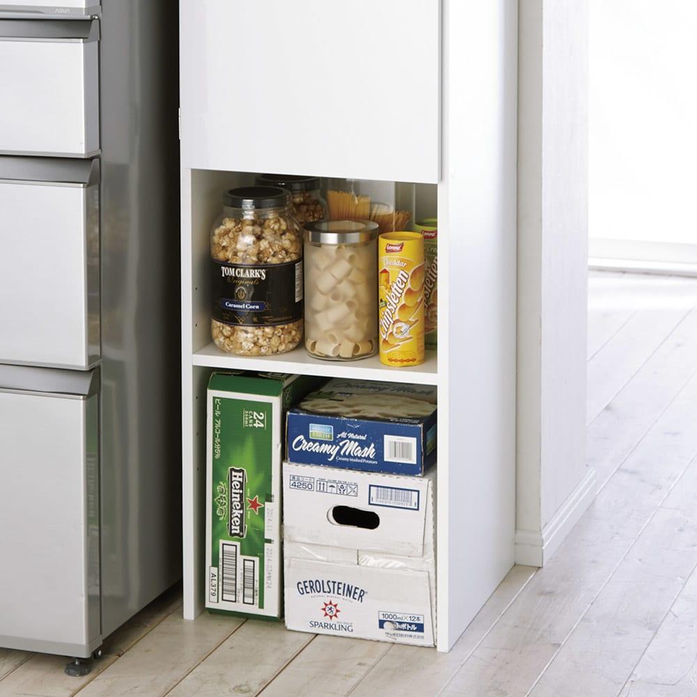 ゴミ箱上を活用できる下段オープンすき間収納庫 幅25cm 下段スペースは使い道いろいろ。
