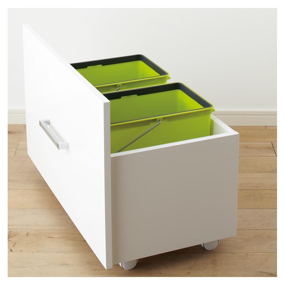 引き出して使える頑丈ワゴン付き キッチンストッカー 幅45cm ダストBOX 普段は隠せて必要なときだけ引き出して使用できます。※ペールは付属していません。