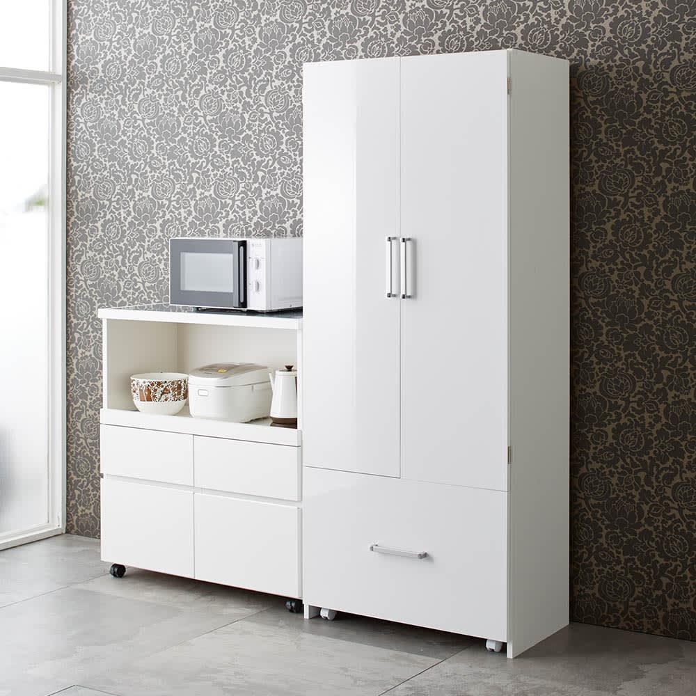 家具 収納 キッチン収納 食器棚 キッチンストッカー 食品ストッカー 引き出して使える頑丈ワゴン付き キッチンストッカー 幅75cm 569821