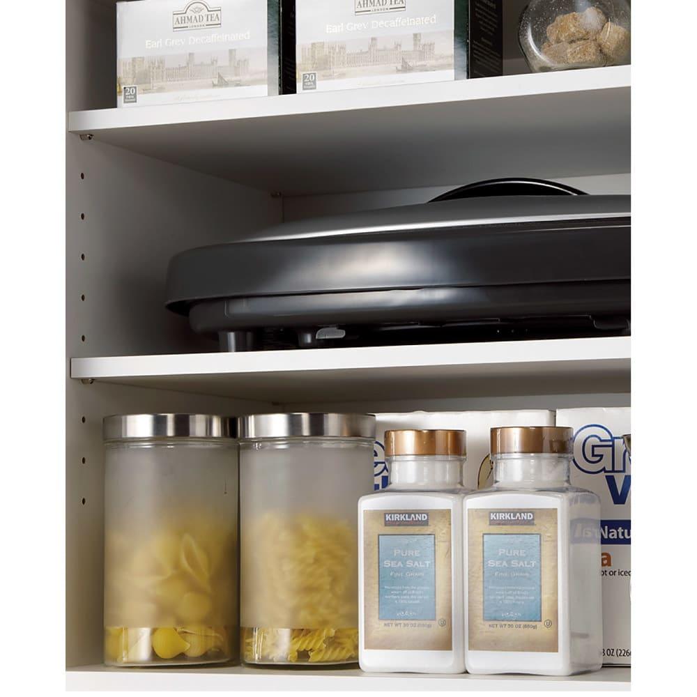 家具 収納 キッチン収納 食器棚 レンジ台 レンジラック キッチンラック 組立不要 幅と高さが選べる家電収納庫 ミドルタイプ 幅60cm・奥行45cm 569908