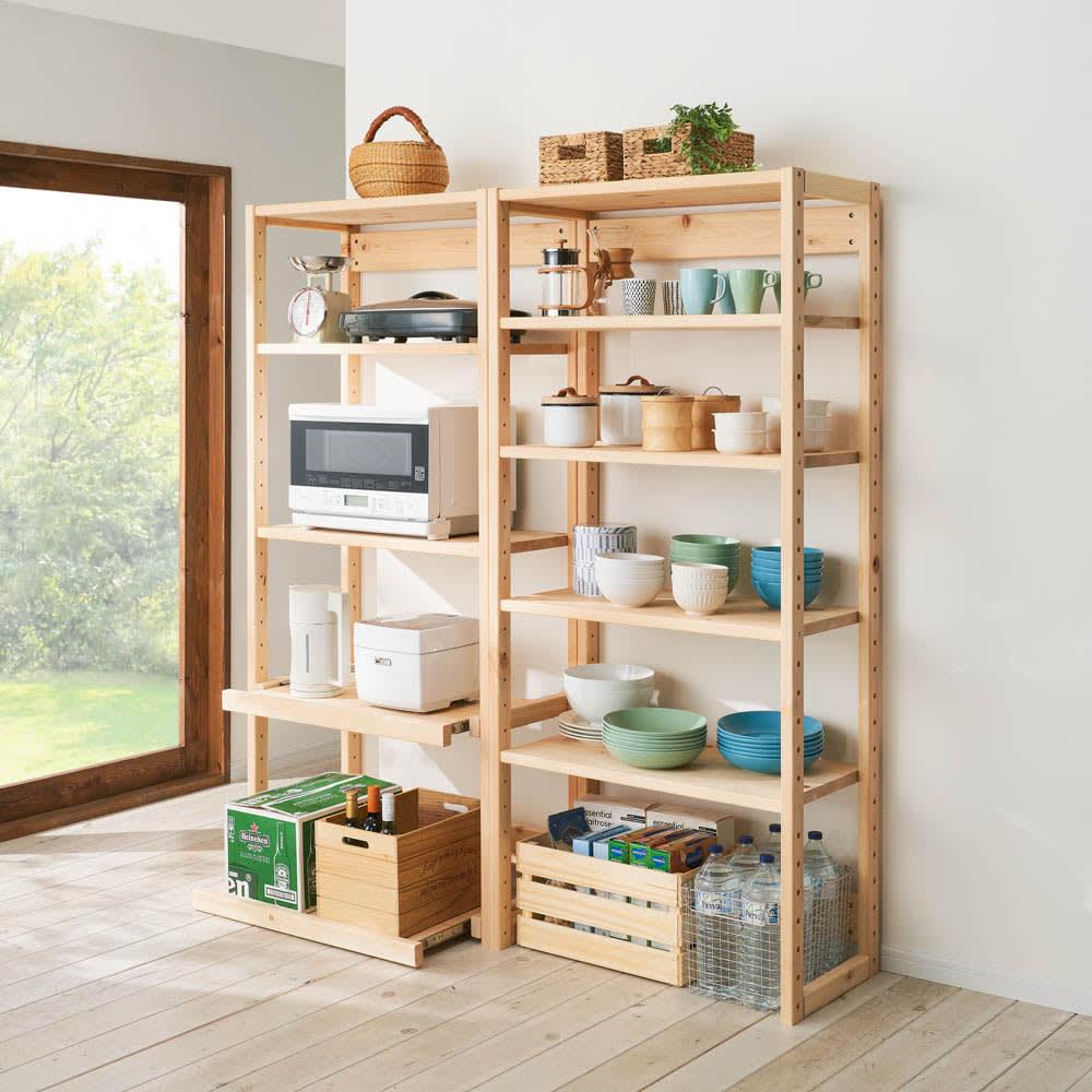 国産ひのきキッチンラック 棚タイプ ハイタイプ(高さ179cm)幅60cm 色見本(ア)ナチュラル ※お届けは幅60cm 棚タイプ ハイタイプになります。