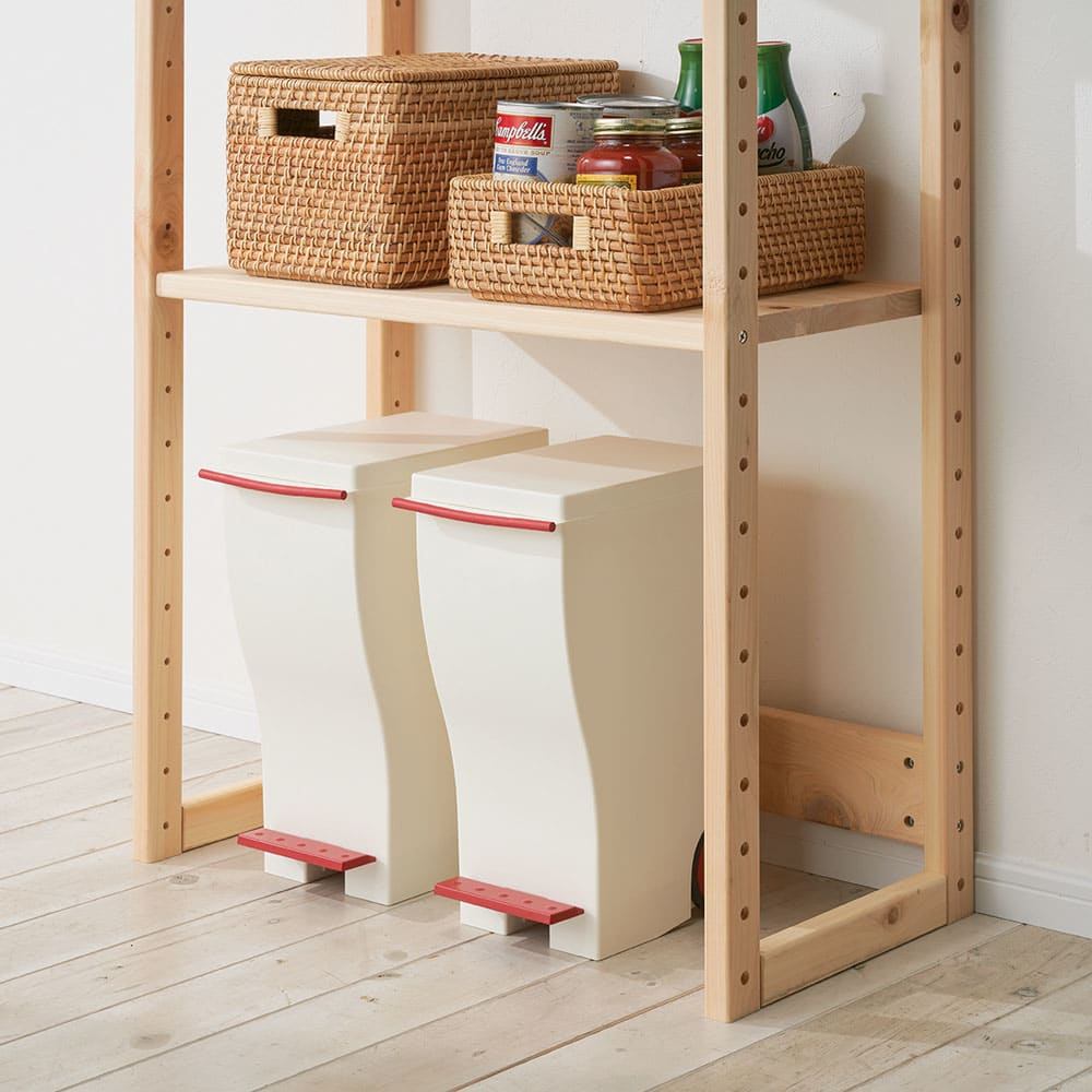 国産ひのきキッチンラック スライド2段タイプ ロータイプ(高さ89cm)幅80cm 【床置き可能】棚を上に設置すればダストボックスや段ボール箱を床に直置きが可能。