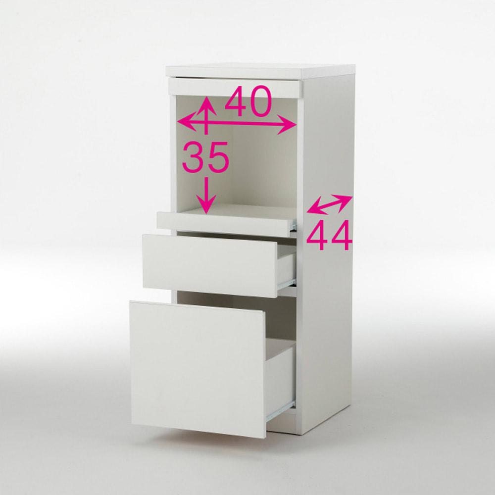 必要なものだけコンパクトに置ける ミニマリストのためのミニマルレンジ台 深引き出しタイプ 幅44cm ※赤文字は内寸(単位:cm)