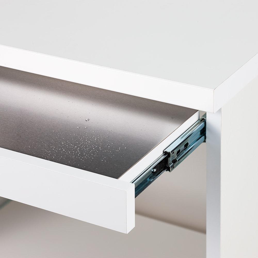 必要なものだけコンパクトに置ける ミニマリストのためのミニマルレンジ台 扉タイプ 幅59cm 天板とスライドテーブルは水に強くお手入れも簡単。