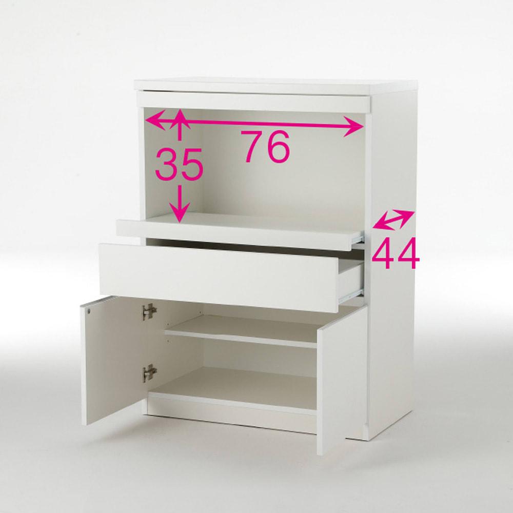 必要なものだけコンパクトに置ける ミニマリストのためのミニマルレンジ台 扉タイプ 幅80cm ※赤文字は内寸(単位:cm)