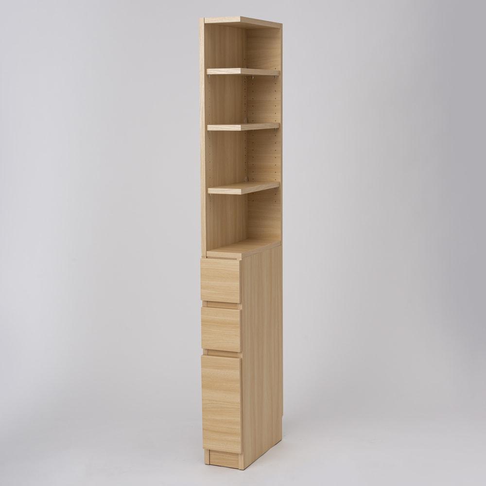 幅が1cm単位でオーダーできる2面オープンすき間収納庫 奥行45cm 幅15~19cm (ウ)ライトアッシュ ※写真は幅17cm奥行45cm・右オープンです。