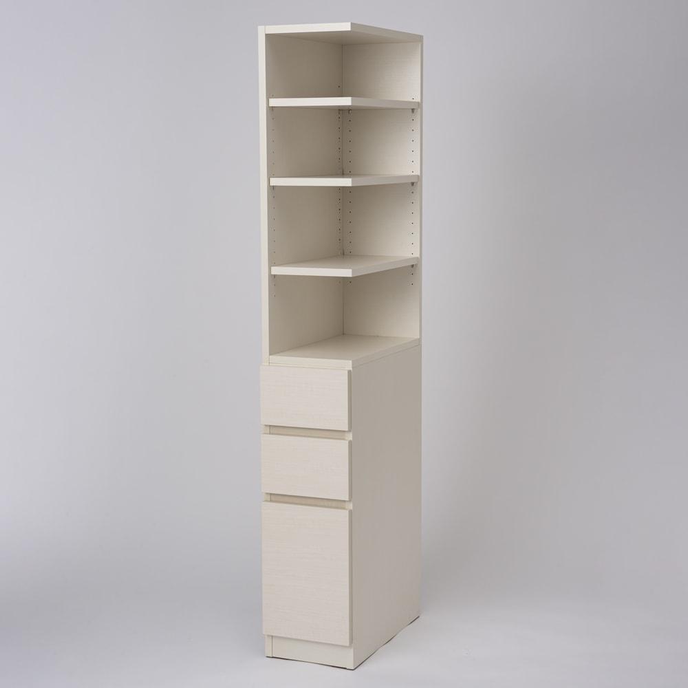 幅が1cm単位でオーダーできる2面オープンすき間収納庫 奥行55cm 幅20~24cm 色見本(イ)ホワイトシカモア ※写真は幅27cm奥行55cm・右オープンです。