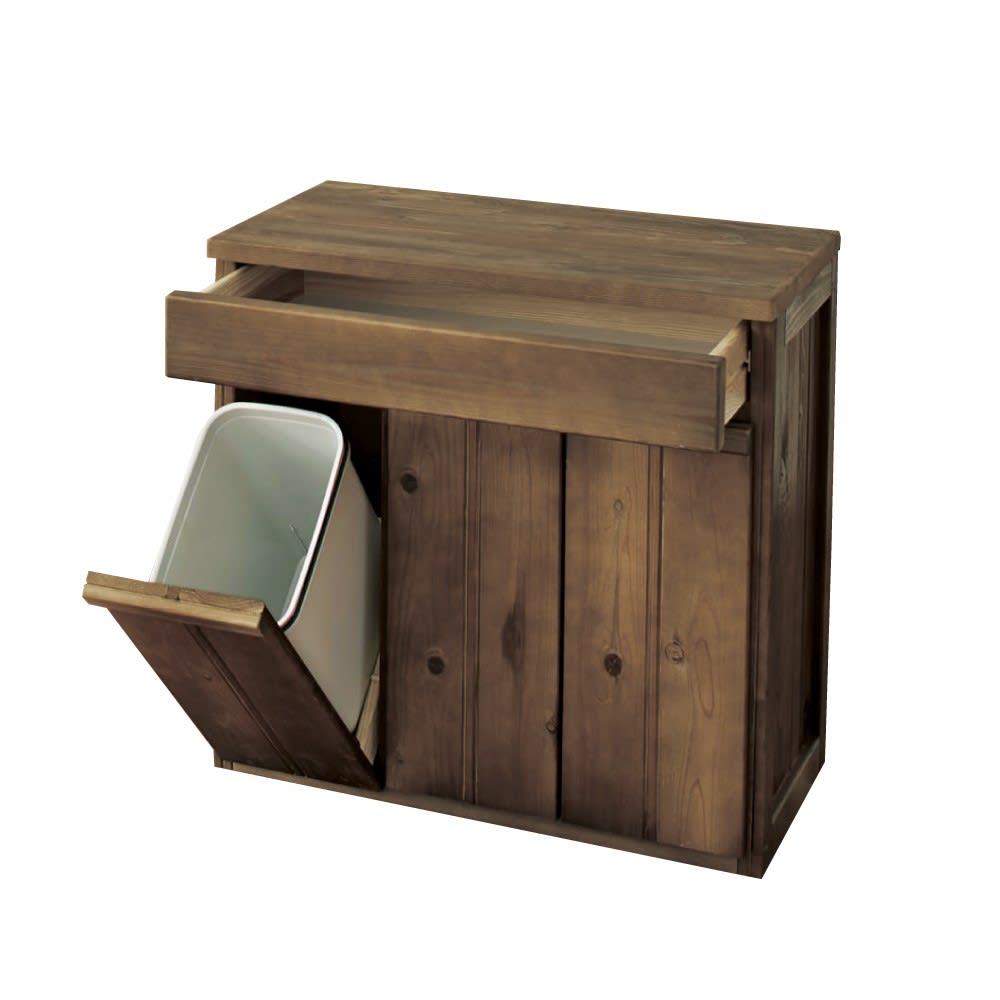 国産杉のキッチン収納シリーズ 分別ダストボックス 3分別タイプ 幅72cm (イ)ダークブラウン