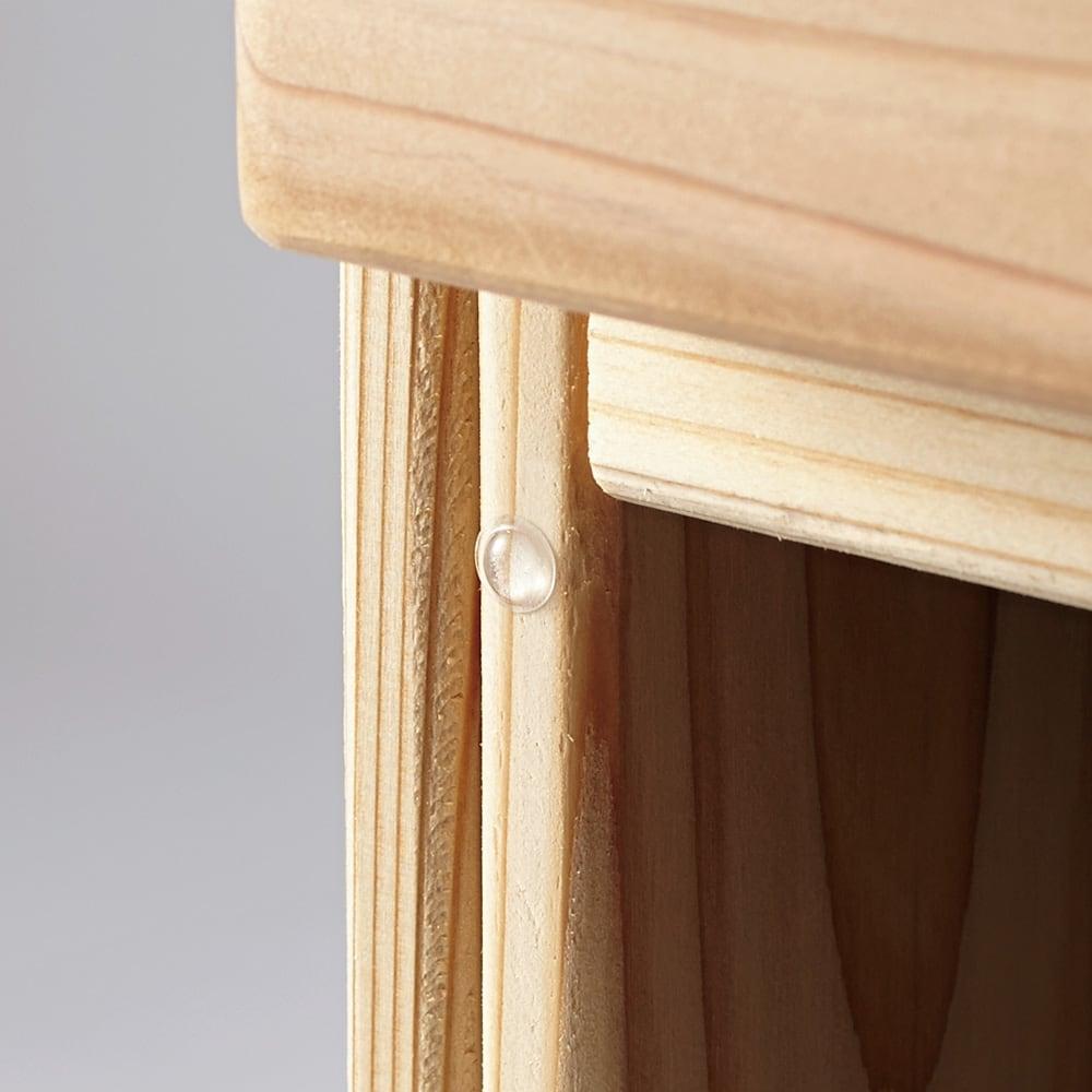 国産杉のキッチン収納シリーズ 分別ダストボックス 3分別タイプ 幅72cm 閉める時の音を減少させるクッション付きです。