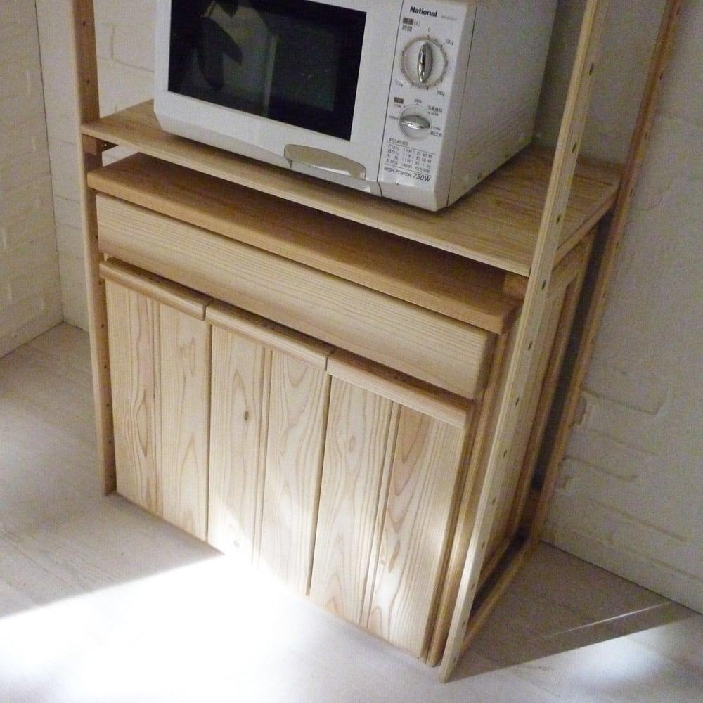 国産杉のキッチン収納シリーズ 分別ダストボックス 3分別タイプ 幅72cm ※使用イメージ。