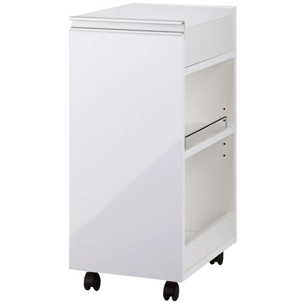 間仕切りキッチンカウンター スリムワゴン 幅29.5cm (ア)ホワイト