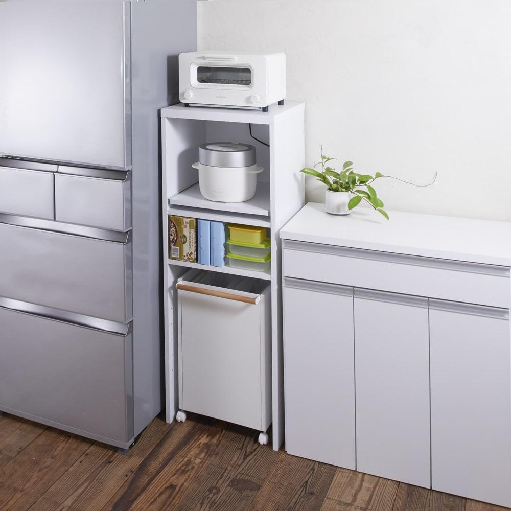 ゴミ箱上が活用できる家電オープンラック 幅44cm (イ)ホワイト ※ワゴンは別売の商品です。