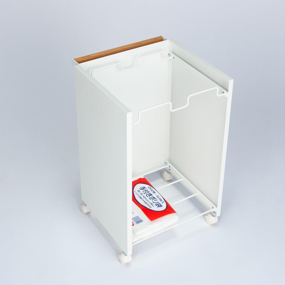 tosca/トスカ 目隠しできる分別ダストワゴン 2分別 幅36cm 下棚にストックのゴミ袋が置けます。