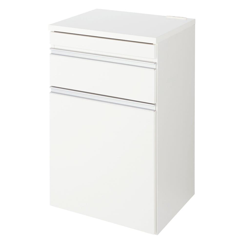 組立不要 スライド天板付きキッチン収納 ゴミ箱2分別 幅53.5cm (イ)ホワイト