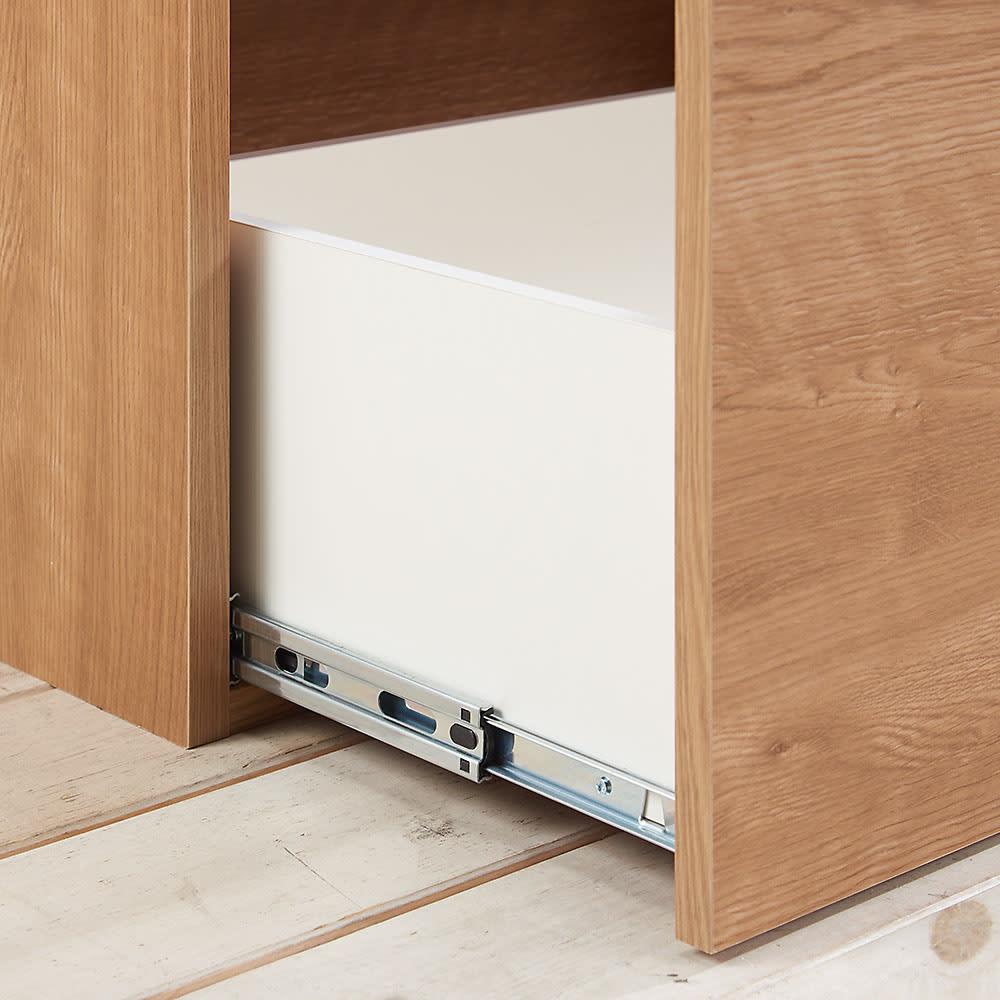 組立不要 スライド天板付きキッチン収納 ゴミ箱2分別 幅53.5cm 最下段はフルスライドレールでしっかり引き出せます。