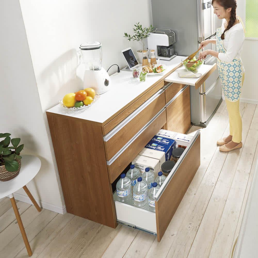 組立不要 スライド天板付きキッチン収納 ゴミ箱2分別 幅53.5cm コーディネート例(ア)ブラウン