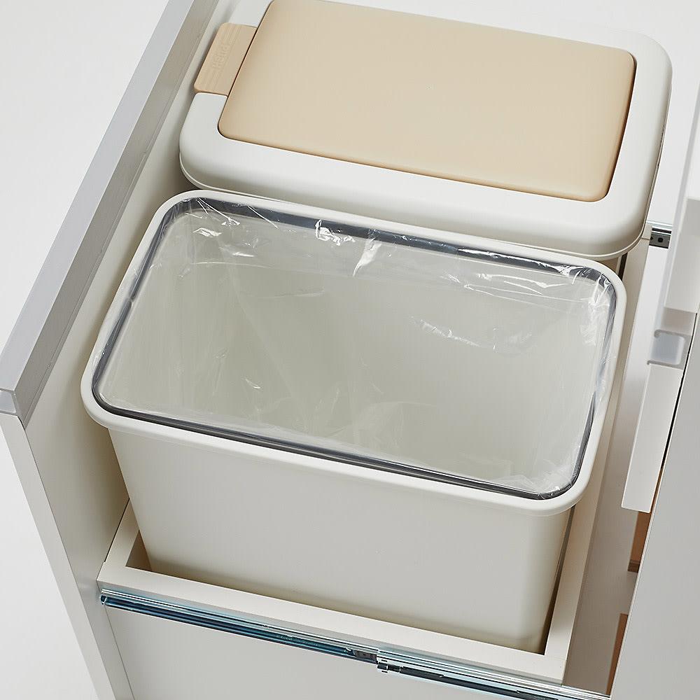 組立不要 スライド天板付きキッチン収納 ゴミ箱2分別 幅53.5cm 内側には袋止めが付いています。