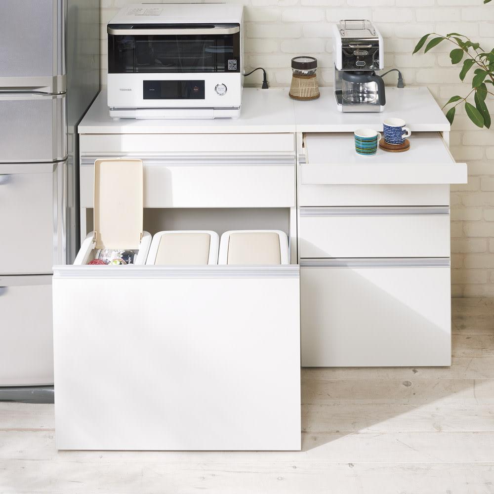 組立不要 スライド天板キッチン収納 ゴミ箱3分別 幅76cm コーディネート例(イ)ホワイト