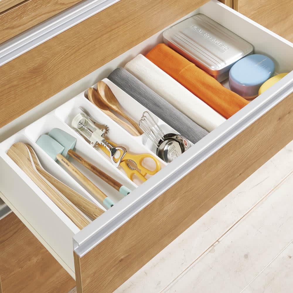 組立不要 スライド天板キッチン収納 ゴミ箱3分別 幅76cm カトラリーなどを整理しやすい浅引き出し。