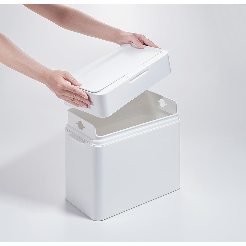 Seals(シールズ) ダストボックス 9.5リットル 【ゴミ袋セット方法 1】 上部のフタを外します。