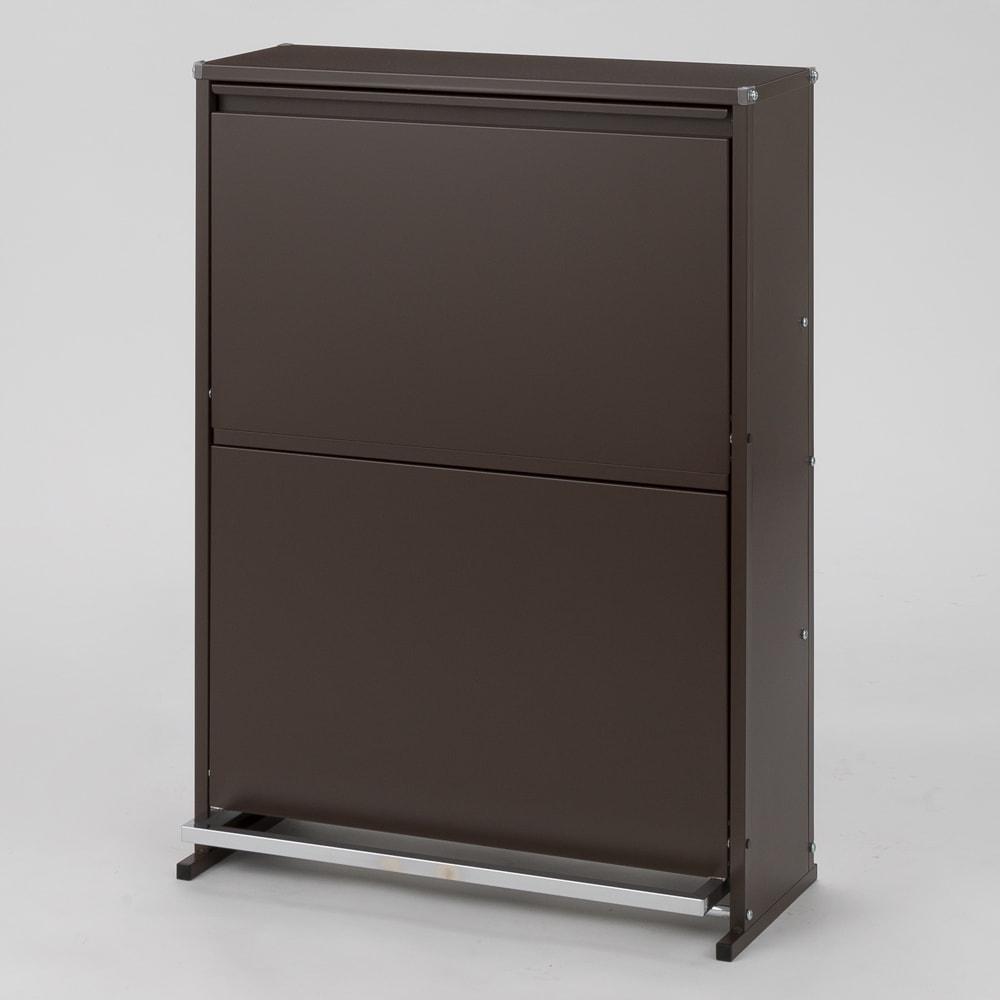 ペダル式薄型分別ダストボックス 4分別 幅63.5cm (イ)ブラウン
