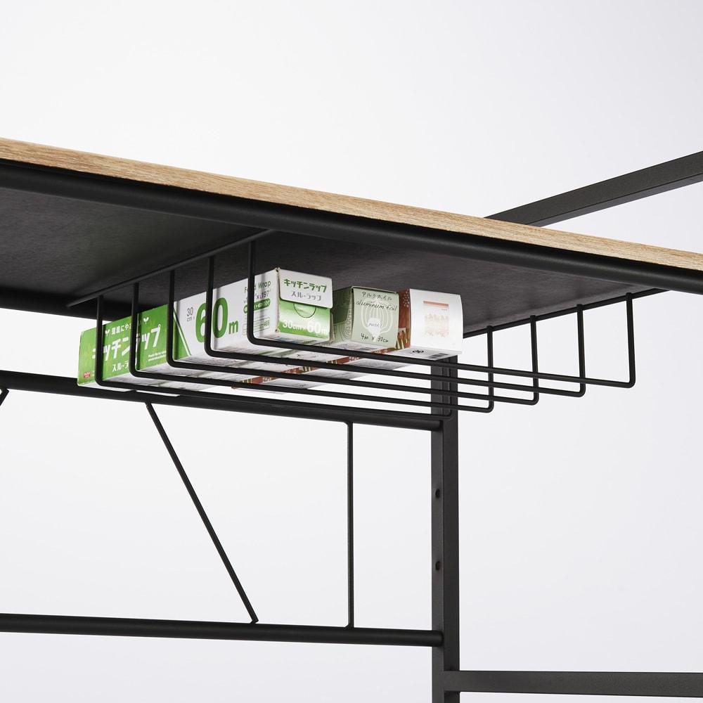 ブルックリン風レンジラック 幅59.5cm 天板下には小物が収納できる網棚付き。