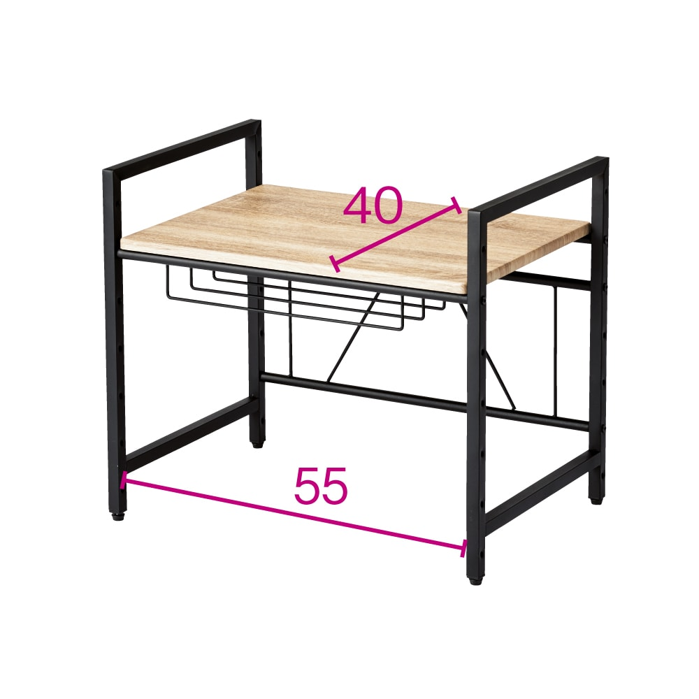 ブルックリン風レンジラック 幅59.5cm (イ)ブラック ※赤文字は内寸(単位:cm) 網棚は左右どちらにも設置可能です。網棚内寸=幅37cm奥行25cm高さ7cm。