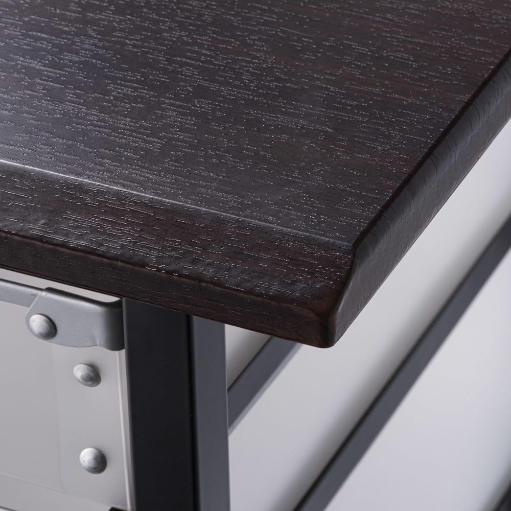 広がる調理台付き 多段キッチンストッカー 幅42cm(天板伸長時 幅90cm) (イ)ダークブラウン 汚れが目立たない天板色。傷がつきにくく、お手入れもしやすい素材です。
