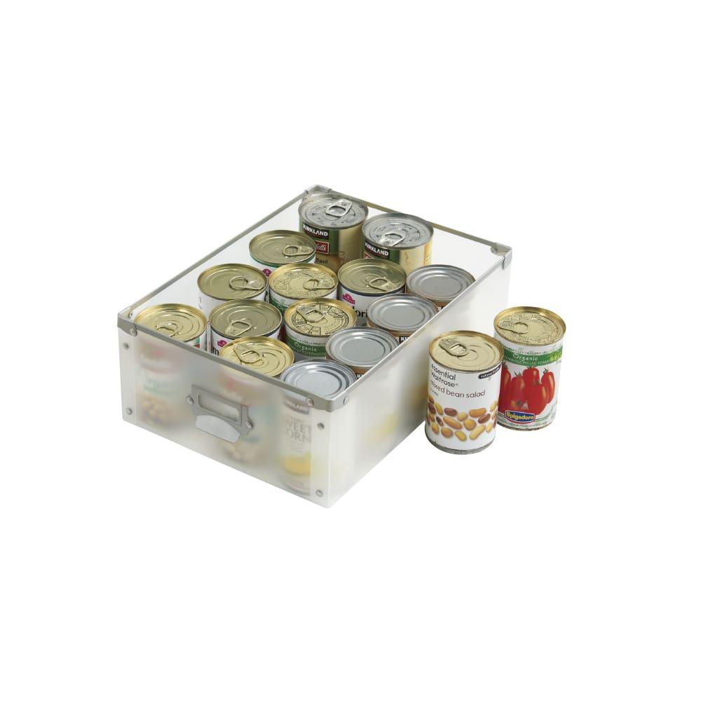 広がる調理台付き 多段キッチンストッカー 幅42cm(天板伸長時 幅90cm) 内寸高さ13cm…缶飲料や、缶詰など。