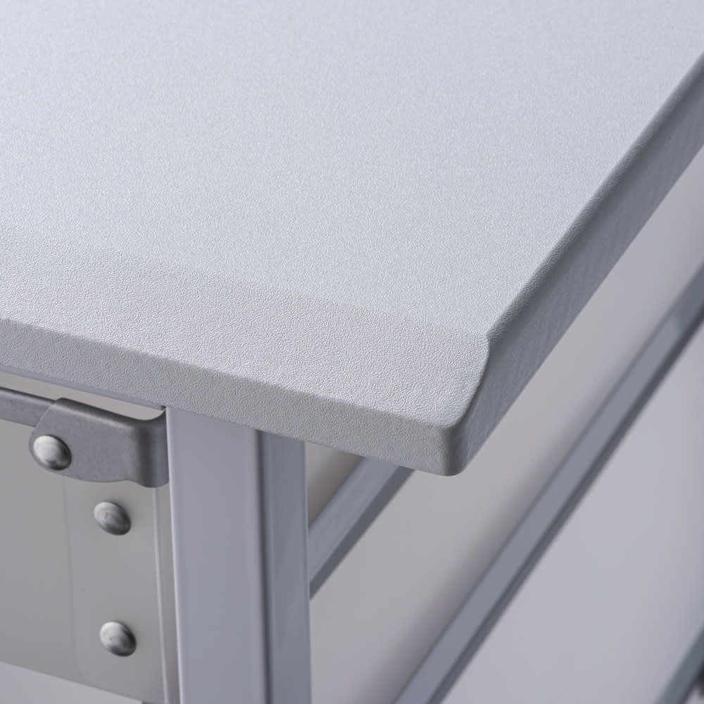 広がる調理台付き 多段キッチンストッカー 幅72cm(天板伸長時 幅120cm) (ア)ホワイト 清潔感のある天板色。傷がつきにくく、お手入れもしやすい素材です。
