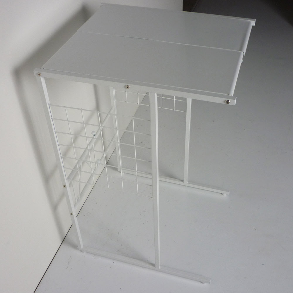 幅が伸縮するキッチン作業台ラック 奥行55cm 幅30cm~50cm サイドネットに掛けられるS字フック3個付き。