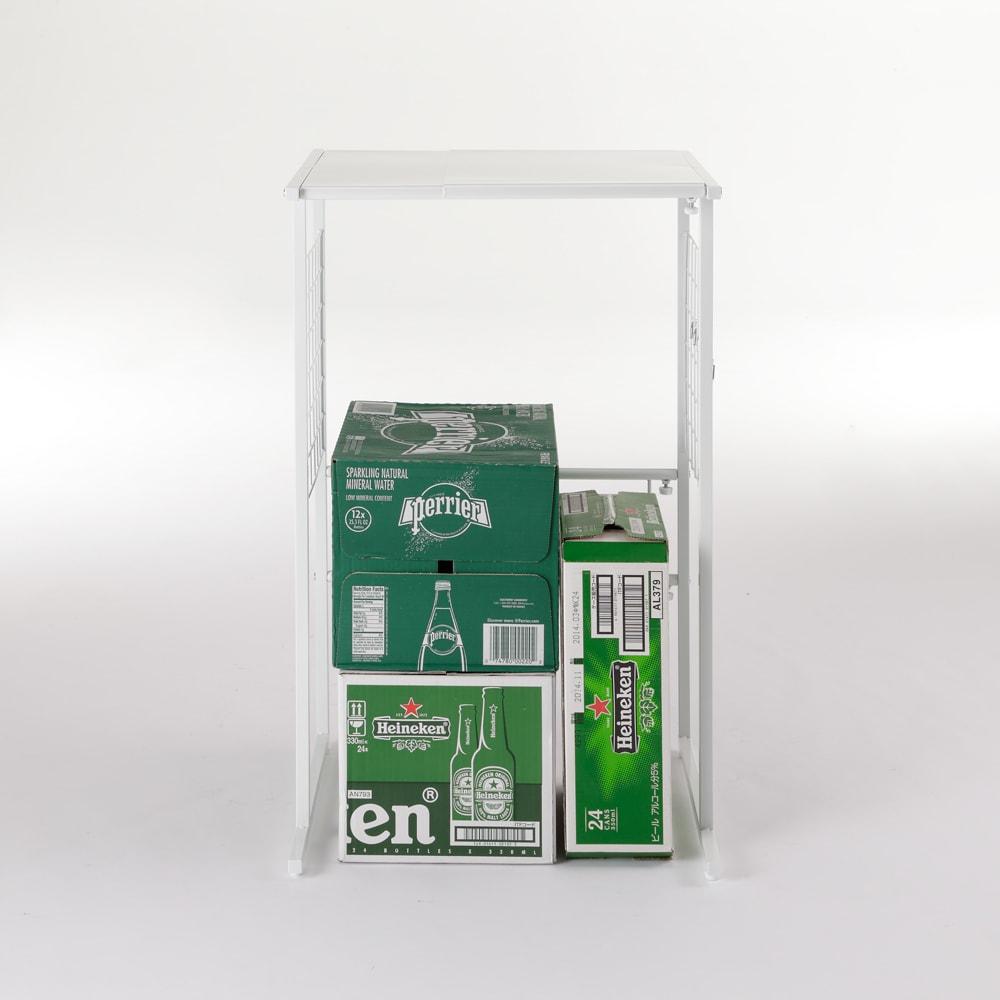 幅が伸縮する作業台ラック ワイドタイプ 奥行30cm 幅51cm~80cm 下に飲料ケースなどが置けます。 ※写真はワイドタイプ奥行45cmです。お届けはラックのみです。