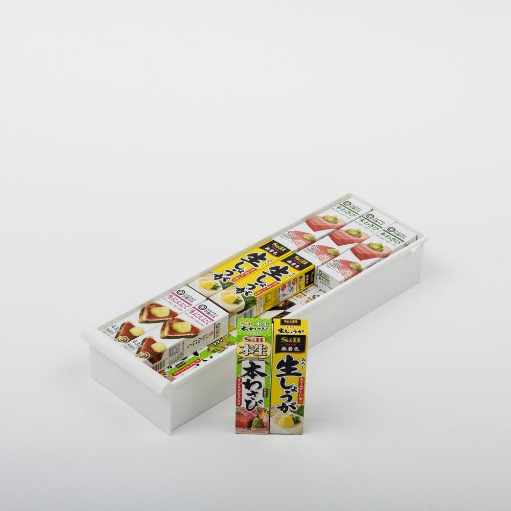 引き出しいっぱいスリムキッチンストッカー 6段・幅17cm 引き出しa・内寸高さ6.5cm。チューブの調味料など。