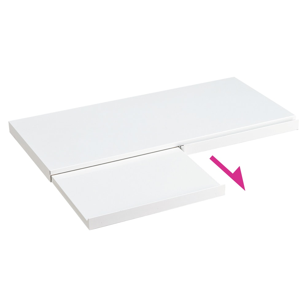 家電周りでの調理をサポートするレンジ下スライドテーブル 幅80高さ4.5cm スライドテーブルが約27cm前方へ出ます。スライドテーブルは指をかけて引き出しやすいよう天板より少し前にでた設計になっております。