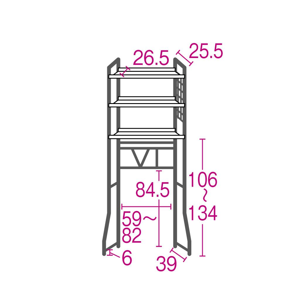 まるでホテル 透き通る棚板のスタイリッシュランドリーラック 棚3段 詳細図 ※赤文字は内寸サイズ(単位:cm)です。洗濯機対応内寸は幅約82cmまで・高さ約134cmまで。
