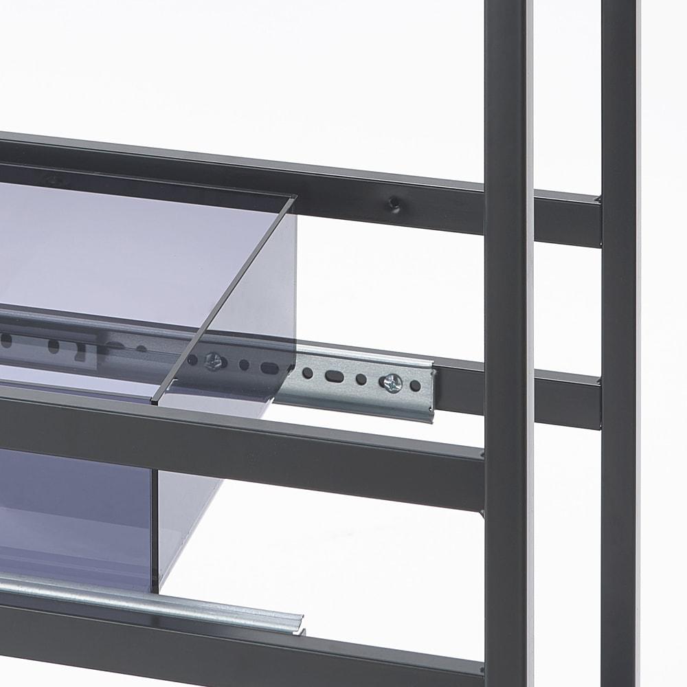 モダンランドリーサイドラック 幅12.5cm 上段の引き出しは2段階に高さ調節が可能です。